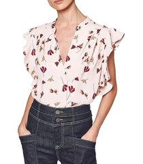 joie women's ashtina ruffle floral top - laurel - size xxs