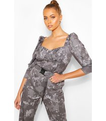 camo print puff sleeve top with deep cuffs, charcoal