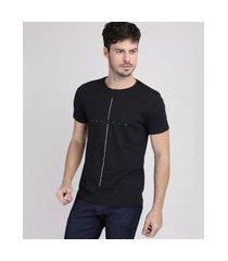 """camiseta masculina slim believe"""" manga curta gola careca preta"""""""