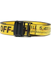 classic industrial intarsia logo belt, yellow and black
