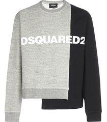 dsquared2 bi-chrome logo asymmetric cotton sweatshirt