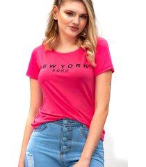 camiseta miss glamour store new york rosa chiclete - kanui