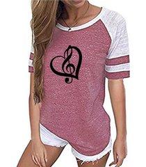 camiseta con mangas raglán cuello redonda de patchwork con estampado gráfico de corazón