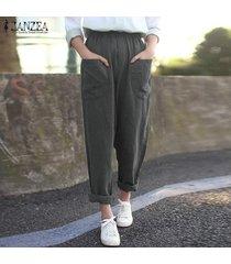 zanzea verano de las mujeres causal llana sólida floja harem algodón de las señoras pantalones más el tamaño -gris oscuro