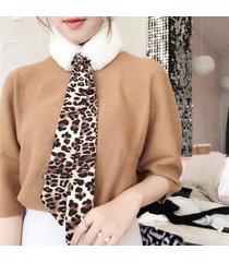 sciarpa di nastro di combattimento di pelliccia di imitazione del collo del leopardo selvaggio delle donne casuale all'aperto collo scaldino