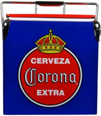 corona retro ice chest cooler with bottle opener 13 l /14 quart vintage style ice bucket for camping, picnic, beach, rv, bbqs, tailgating, fishing