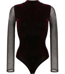 alchemy lia velvet bodysuit - red
