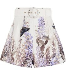 luminous belted high-waisted floral short