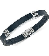 esquire men's jewelry onyx (45 x 15mm) black leather bracelet in sterling silver, created for macy's