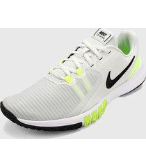 tenis training blanco-verde-negro  nike flex control 4,