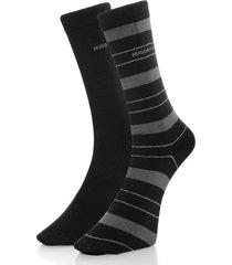 hugo boss double pack black stripe socks 50319261