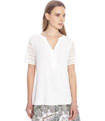 blusa manga corta liso blanco curvi