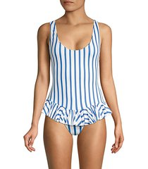 striped ruffled one-piece swimsuit