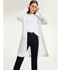 tommy hilfiger women's lightweight open cardigan optic white - xs