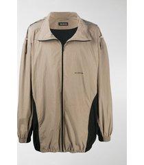 balenciaga panelled oversized zipped jacket
