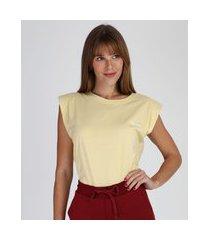 """regata muscle tee feminina you can"""" com ombreiras decote redondo amarela claro"""""""