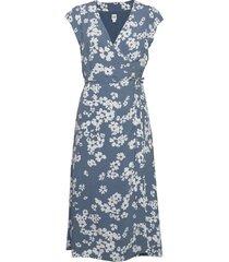 wrap-front midi dress knälång klänning blå gap