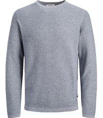 jack & jones trui 12168008 knit crew neck sts 12168008 blue denim - blauw
