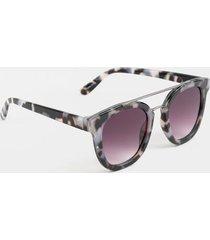 bria metal brow round sunglasses - tortoise