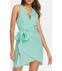 deep v neck chiffon belted dress