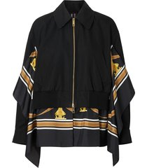 burberry scarf-detail bomber jacket - black