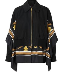 burberry scarf-detail bomber jacket - black