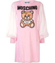 moschino teddy bear embellished dress - pink