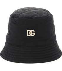 dolce & gabbana quilted nylon bucket hat with logo