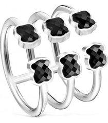 anillo mini onix triple de plata con ónix tous