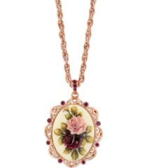 """2028 rose gold-tone purple crystal flower oval pendant necklace 28"""""""