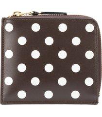 comme des garçons wallet polka dot zipped wallet - brown