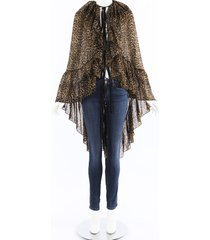saint laurent sheer leopard print cape black/brown/animal print sz: