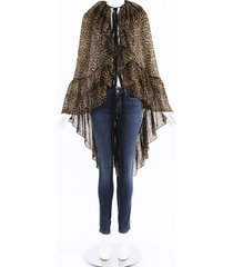 saint laurent sheer leopard print cape