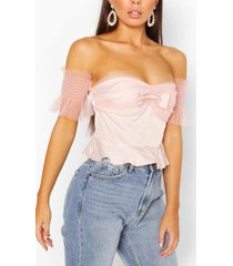 bow ruffle off the sleeve woven top, blush