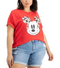 freeze 24-7 trendy plus size floral mickey mouse-graphic t-shirt