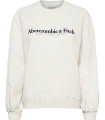 anf womens sweatshirts sweat-shirt tröja creme abercrombie & fitch