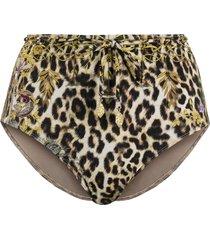 camilla leopard print bikini bottoms - brown