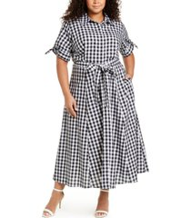 calvin klein plus size gingham maxi dress