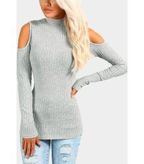 light grey ribbed cold shoulder jumper