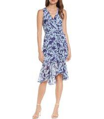 women's eliza j floral ruched chiffon faux wrap dress, size 0 - blue