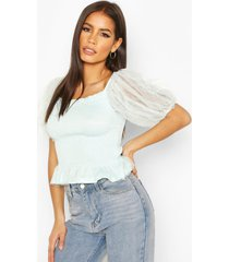 mesh sleeve shirred top, mint