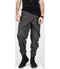 cremallera irregular para hombres diseño casual pantalones