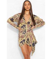 satijnen kettingprint wikkel blouse jurk, brown