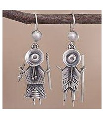 sterling silver dangle earrings, 'cuzco couple' (peru)