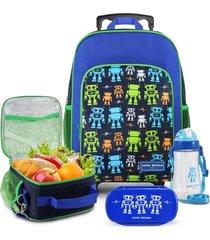 conjunto mochila com rodinhas g, lancheira térmica, pote e squeeze sapeka robo jacki design azul