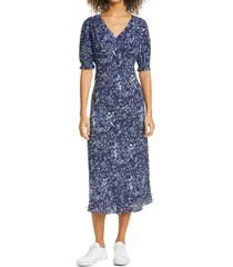 women's nicole miller evening garden midi dress, size 6 - blue