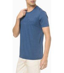 camiseta mc slim institucional embossing - azul médio - gg