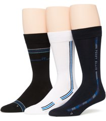 perry ellis portfolio men's 3-pack casual stripe and logo crew socks