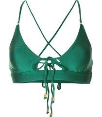 suboo dream tie front bikini top - green