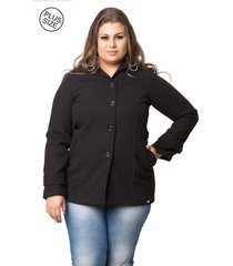 casaco madame modelagem grande de lã batida preto